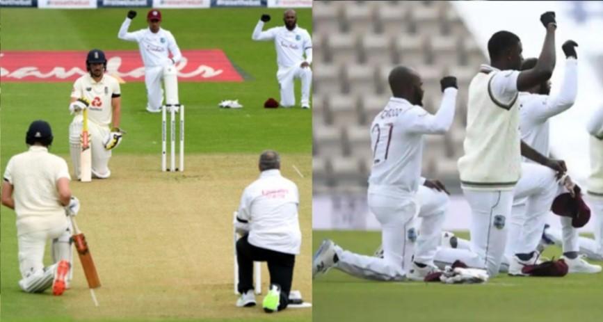 Kneeling cricket team