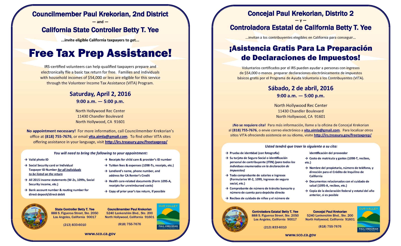 Free Tax Prep Assistance - Paul Krekorian - LA City