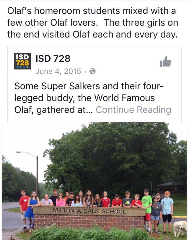 Post about Olaf the therapy dog for school
