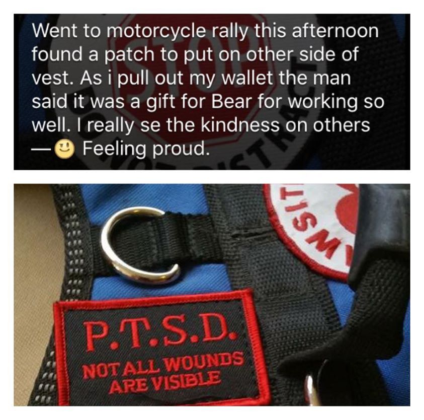 Great Facebook post about his success with his PTSD service dog