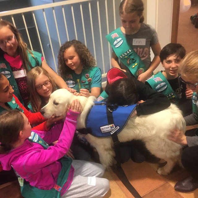 The Girl Scouts pet the dog as a reward