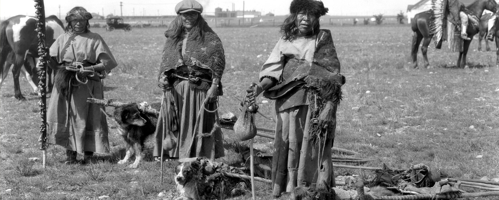 Native American woman with her dog