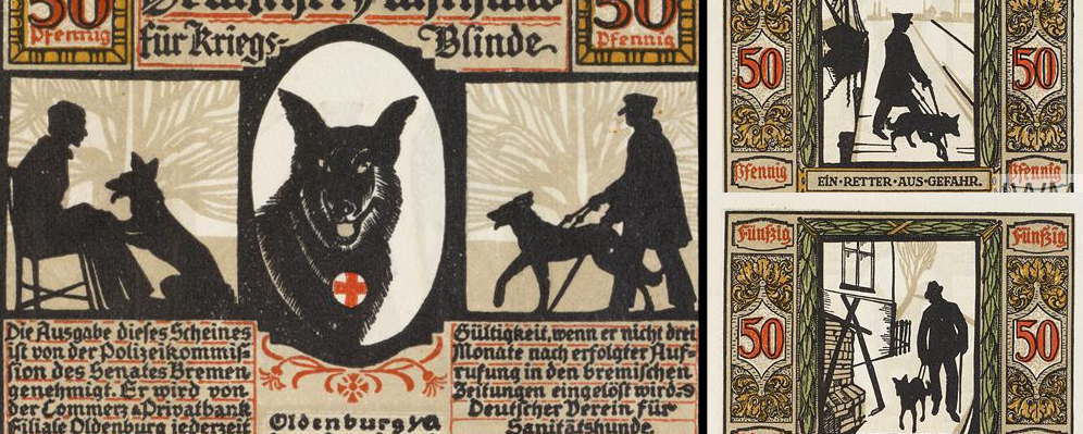 German stamps of guide dogs for veterans