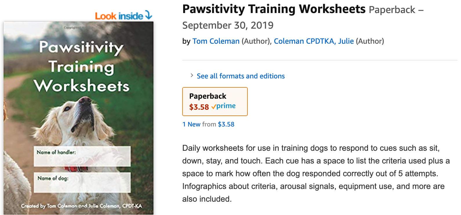 Service Dog Training worksheets