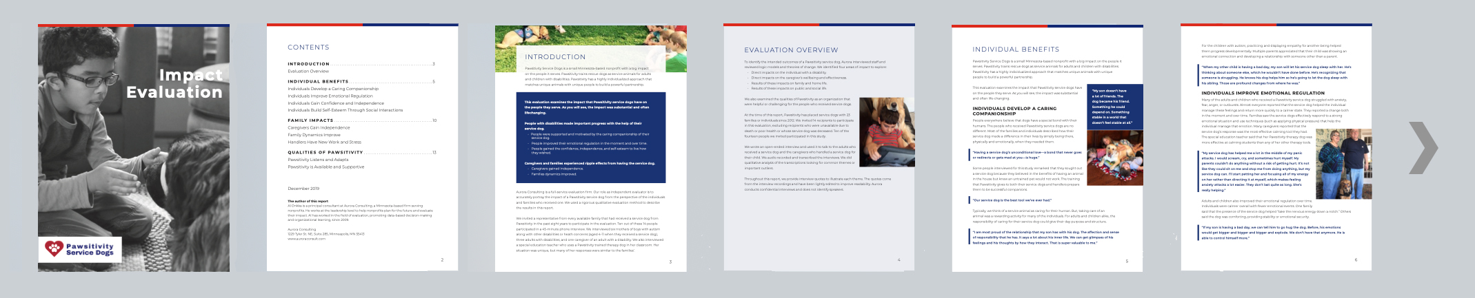 Pages of the Impact Assessment for Pawsitivity Service Dogs