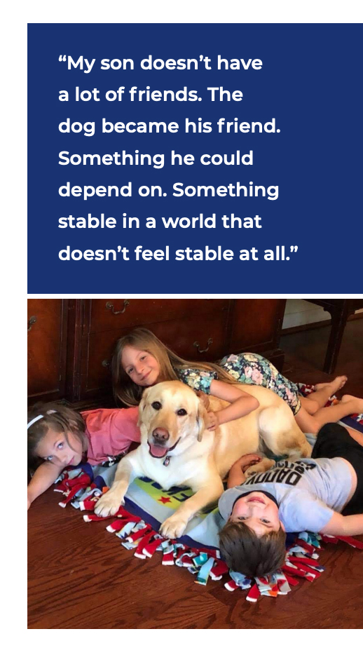 Service Dog Grady with his new family