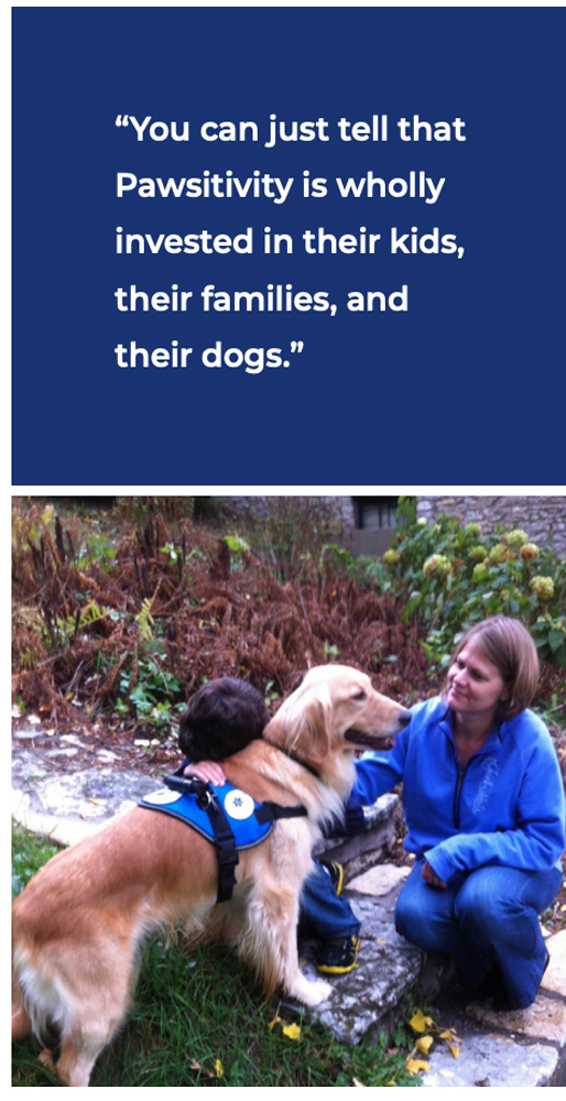 Boy with autism and his mother and his service dog