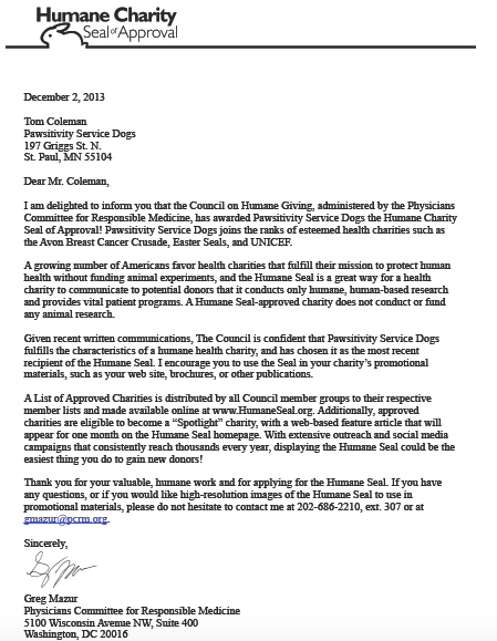 Humane Charity letter