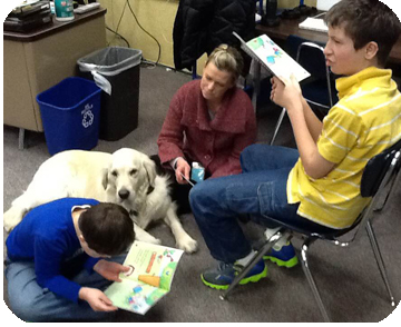 Olaf working as therapy dog in Elk River, MN