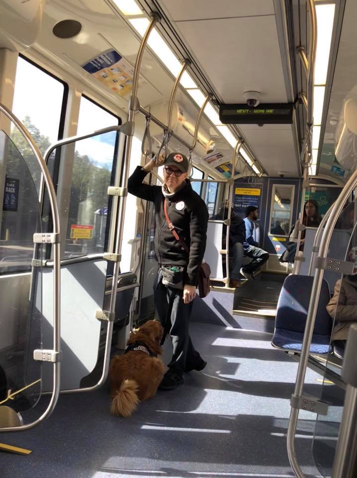 She takes up a lot of room when she's lying down, but the train was pretty empty