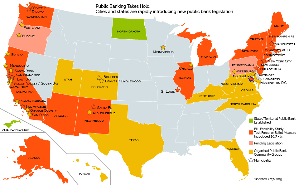 Public Banking Takes Hold map
