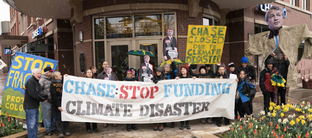 350 Colorado protest outside Chase