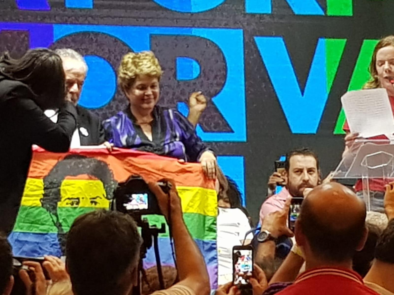 Dilma Rousseff présente au congrès du PT.