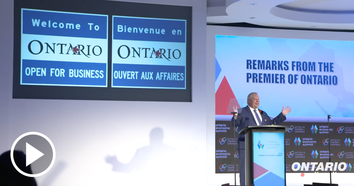 Premier Ford spoke at the Ontario Economic Summit & Toured Renowned Niagara Facilities
