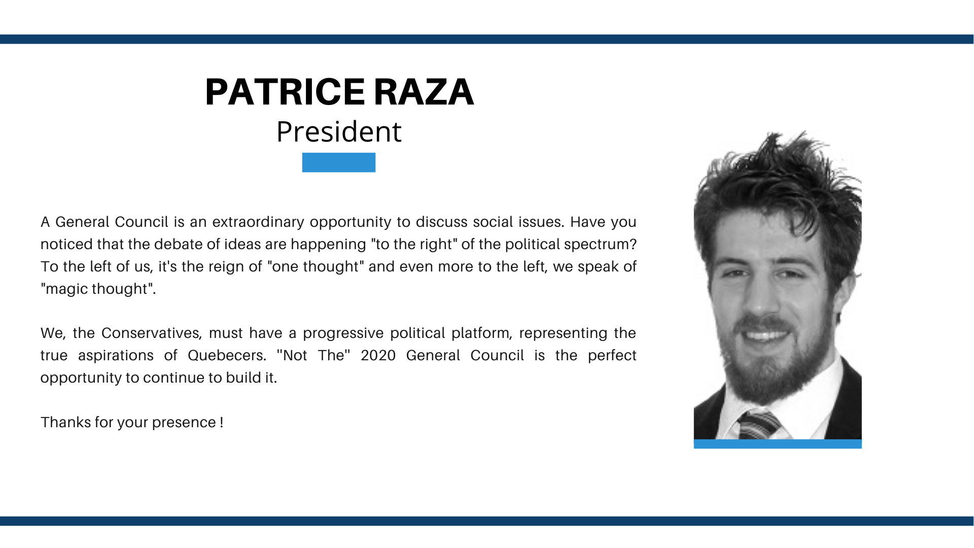 CG2020 Welcome Patrice Raza
