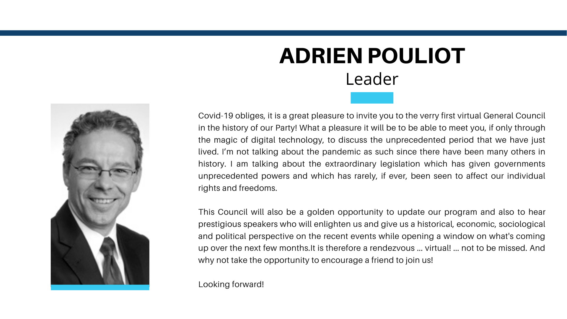 CG2020 Welcome Adrien Pouliot