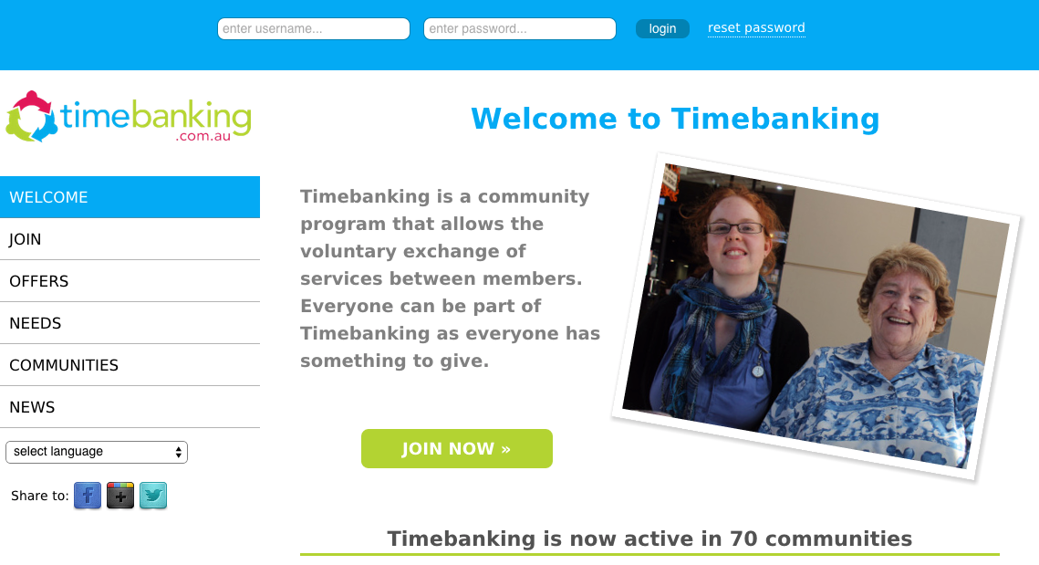 New Timeabanking user-interface