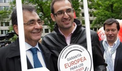Sergio Gutierrez and Cercas during the launch of the campaign for a European Youth Guarantee
