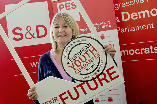 Marita Ulvskog MEP with the European Youth Guarantee photo frame