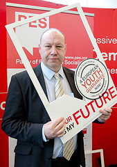 Derek Vaugham MEP holds European Youth Guarantee campaign frame
