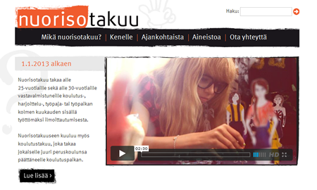 Website - Youth Guarantee in Finland
