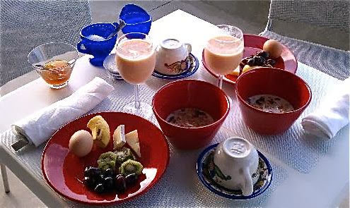Guest Mary Fisher's snap of her breakfast at my Vieques B&B