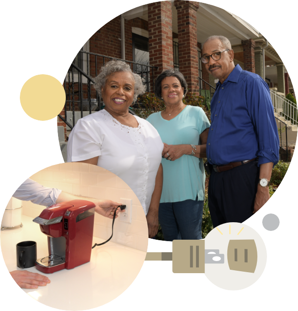 A college showing a photograph of three African American members of the Washington DC community standing in front of a typical DC brick row house, a photo of a person plugging an electric coffee maker into their kitchen electrical outlet, and an illustration of an electrical plug and an electrical socket