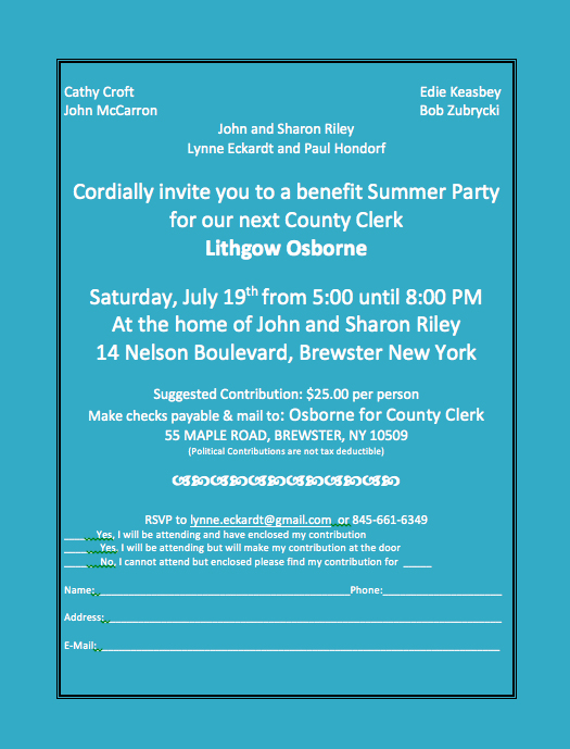 Summer benefit for Lithgow Osborne for County Clerk
