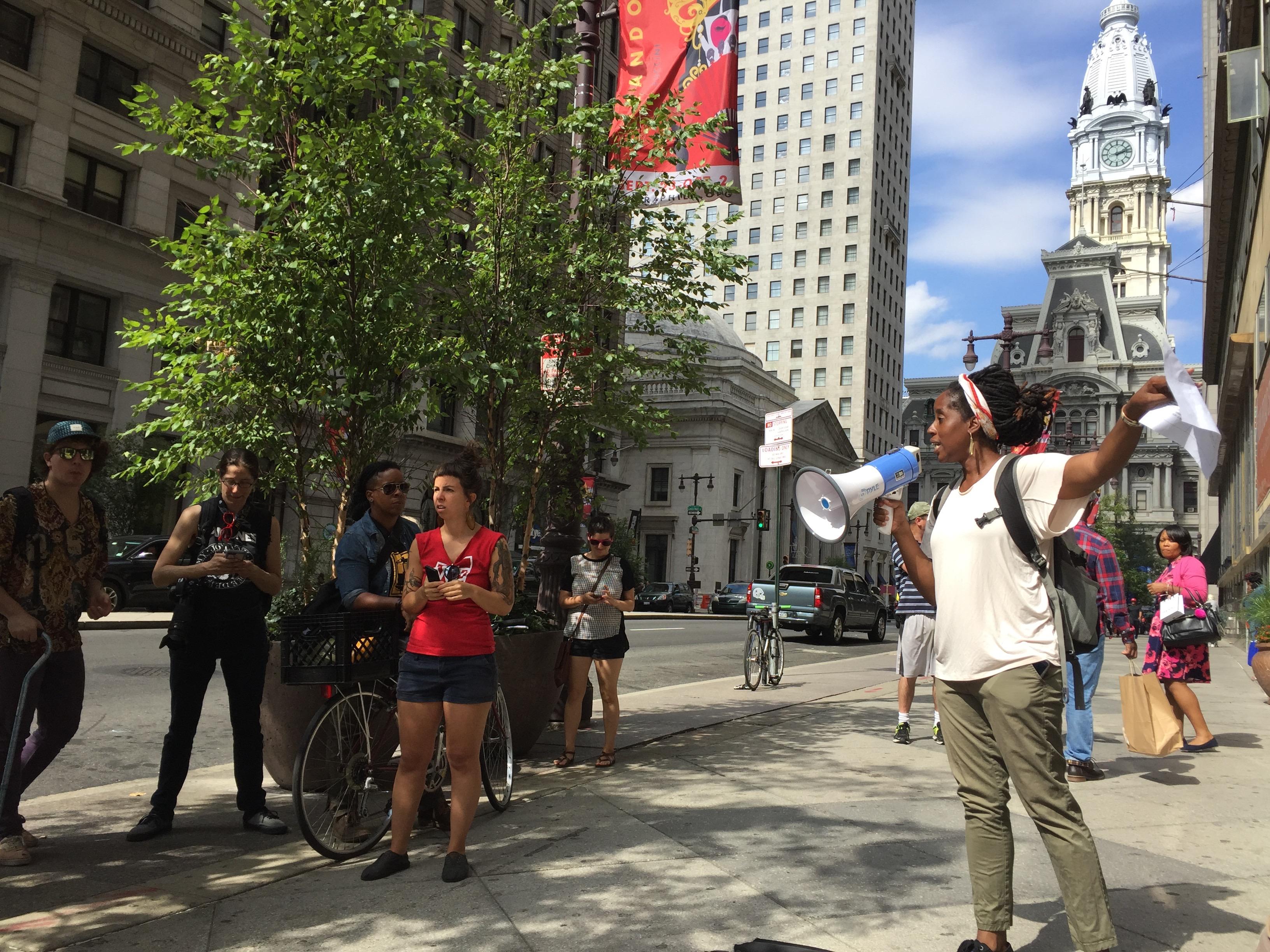 Chinara Speaks to Crowd