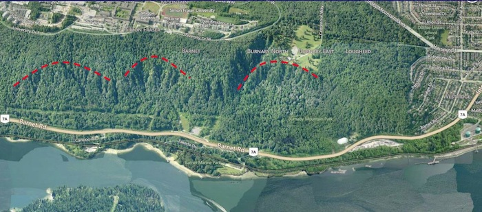 The collapse of the north face of Burnaby Mountain thousands of years ago may have been triggered by seismic movement along a suspected underlying fault.