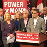 Point de presse pour l'abrogation du projet de loi 124