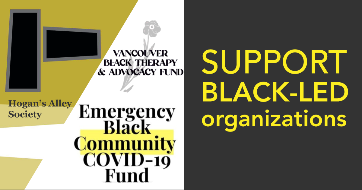 "graphic saying ""SUPPORT BLACK-LED ORGANIZATIONS"" with the three listed in the website"