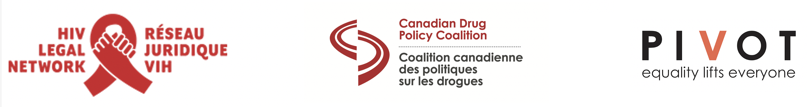 graphic with the logos of: HIV Legal Network, Canadian Drug Policy Coalition, Pivot Legal Society