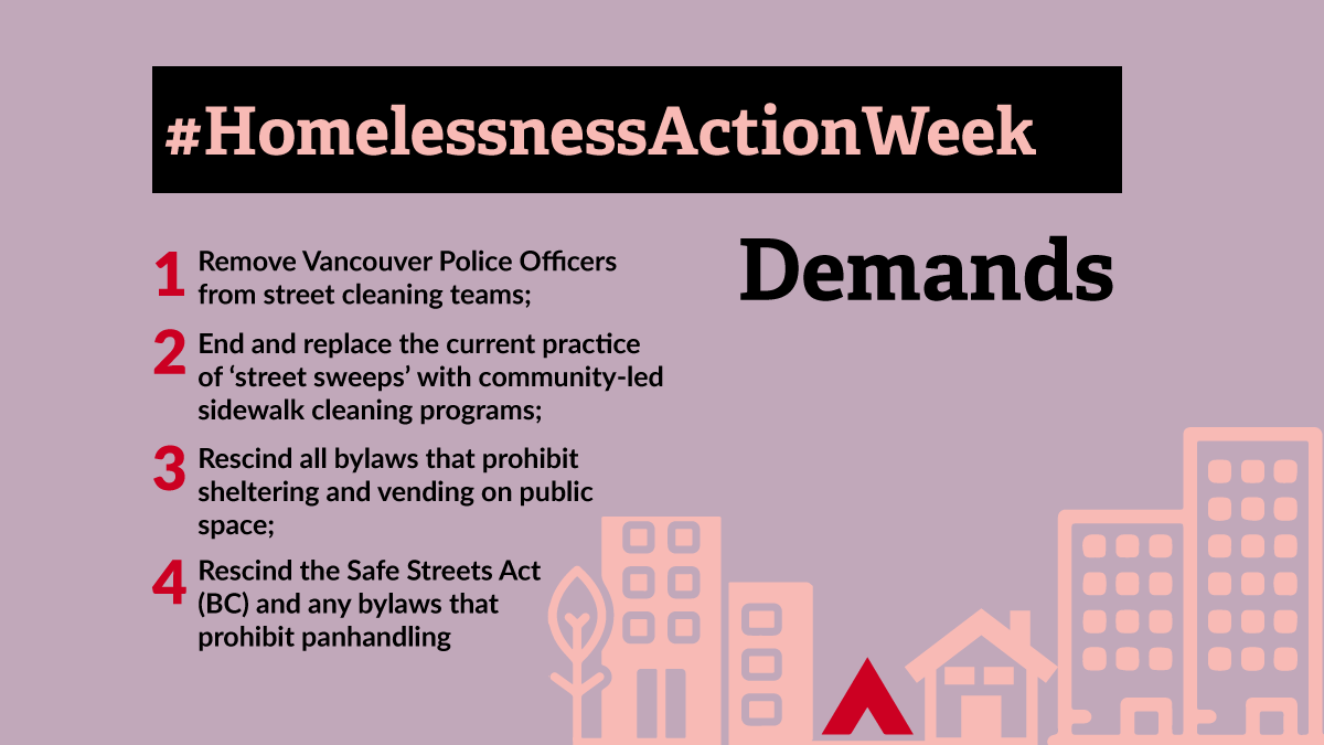 """Purple background with a graphic of a neighborhood in pink stencil depicting buildings a house and a tent except the tent is red. The text reads """"Demands: 1- Remove Vancouver Police Officers from street cleaning teams; 2- End and replace the current practice of 'street sweeps' with community-led sidewalk cleaning programs; 3- Rescind all bylaws that prohibit sheltering and vending on public space; 4- Rescind the Safe Streets Act (BC) and any bylaws that prohibit panhandling"""""""