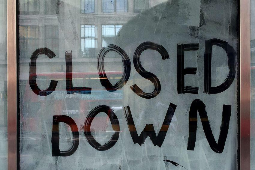 shop window closed down