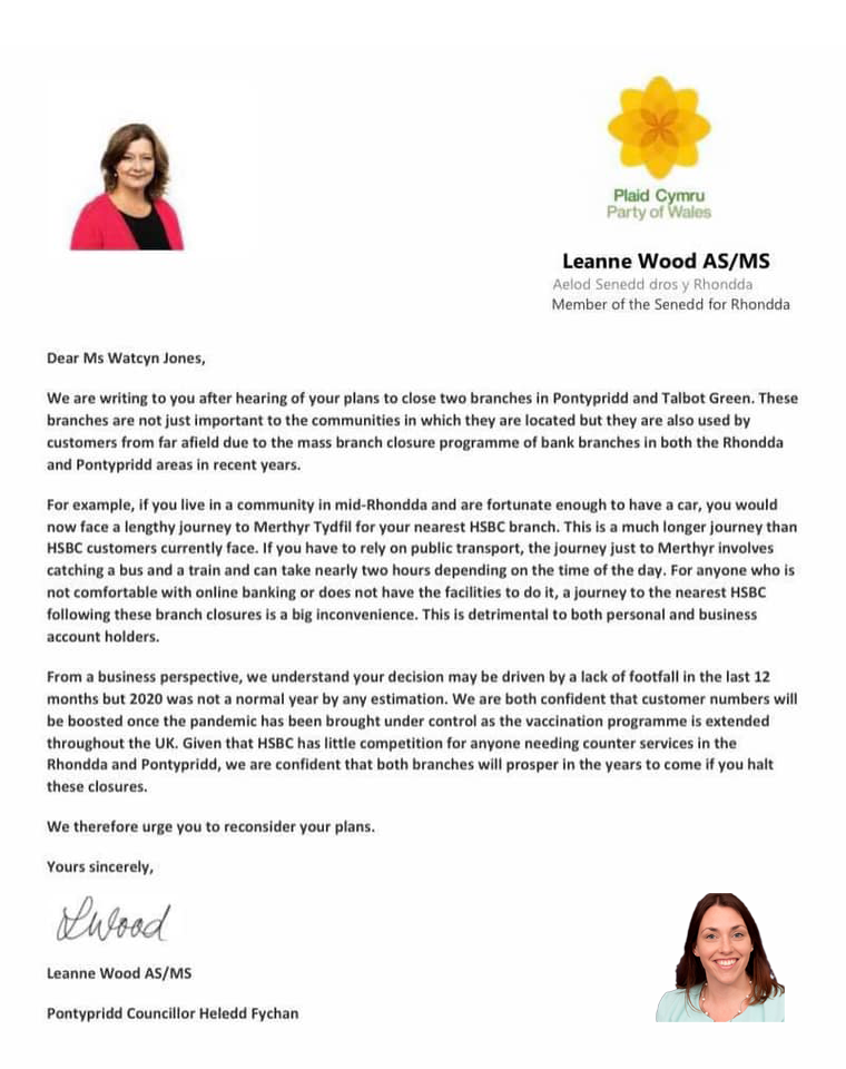 Letter to HSBC