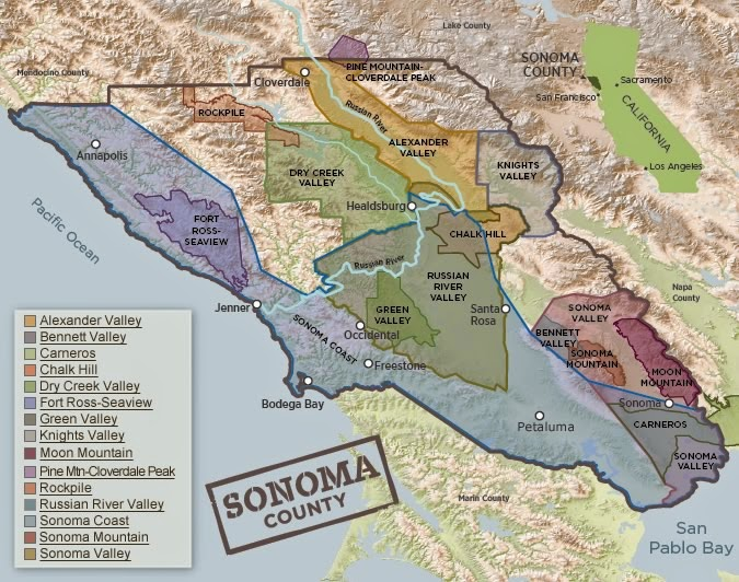 Wine Map, Sonoma County, California, USA