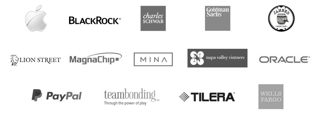 logos of select planet grape® clients: Apple, Black Rock, Charles Schwab, Jamber Wine Pub, Goldman Sachs, Lion Street, MagnaChip, Mina, Oracle, PayPal, teambonding, Tilera, Napa Valley Vintners, Wells Fargo.
