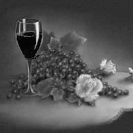 black and white square still life, black and white - glass of wine, grapes and vine leaves, roses on table top - courtesy of photobucket