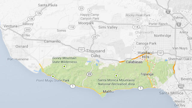 Map of Malibu Coast AVA (American Viticultural Area)