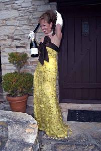 Master Sommelier Catherine Fallis, aka grape goddess® - sabreuse, sabering champagne!