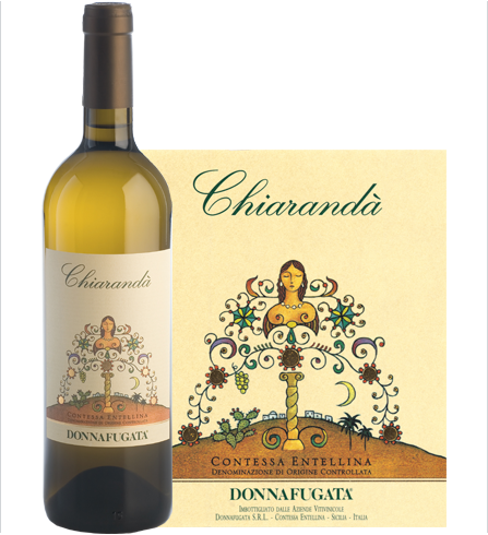 Bottle (and label)of 2010 Donnafugata Chiranda Chardonnay Contessa Entellina DOP