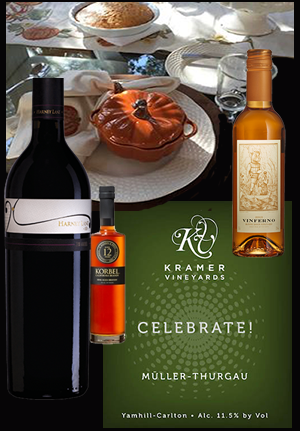 Festive wines and decorative table spread, for Thanksgiving, on a