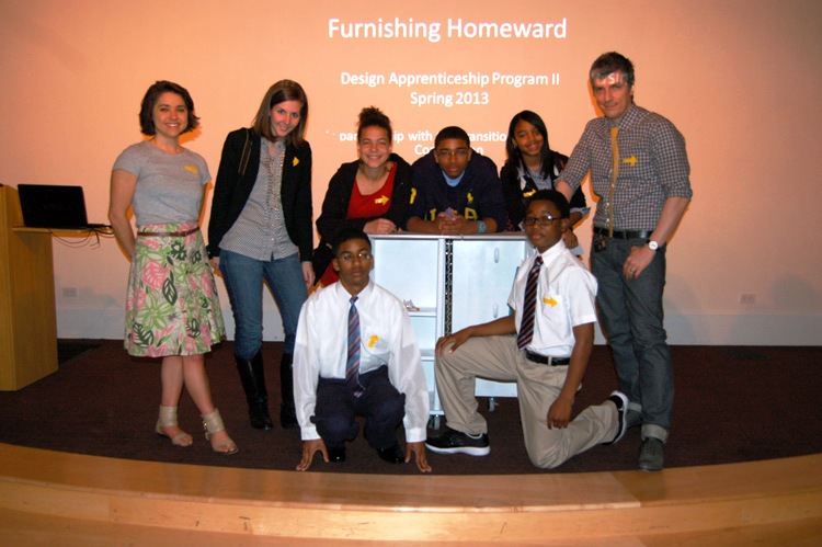 Design Apprenticeship Program team poses with the furniture they designed for a family in transitional housing. Photo credit: Museum Staff