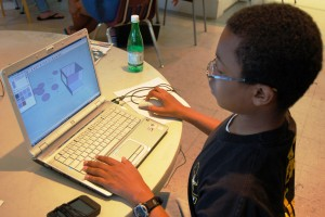 Teen Council member learning about SketchUp in a portfolio workshop. Photo credit: Museum Staff
