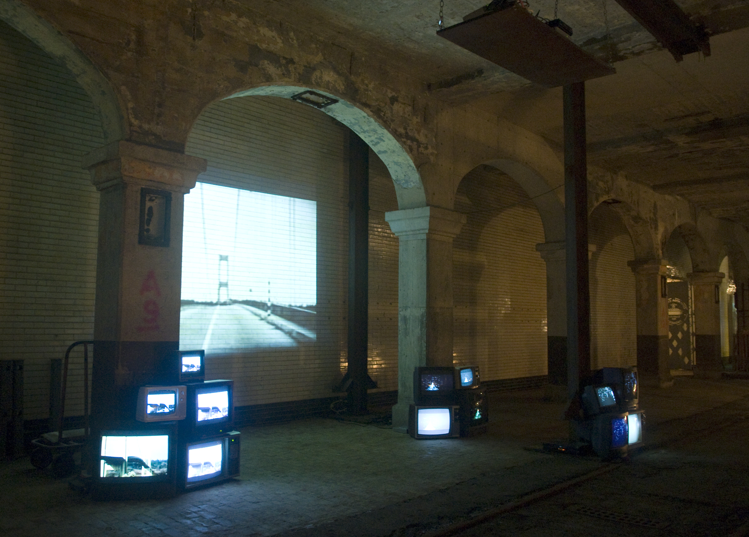 Installation from the CUDC's 2009 Bridge Project, a pop-up weekend-long event where the lower level of the Detroit-Superior bridge was opened up and artists were invited to create installations and perform. Photo by Elizabeth Russell.