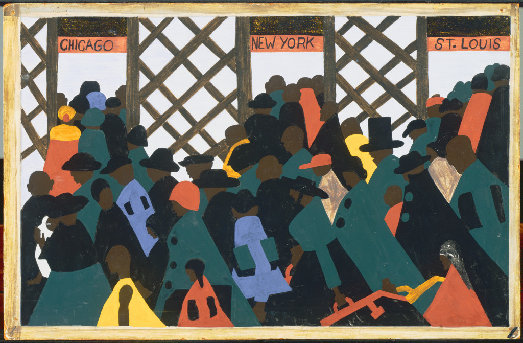 "Jacob Lawrence, The Migration Series Panel no. 1 ""During World War I there was a great migration north by southern African Americans,"" 1940-41. Casein tempera on hardboard, 12 x 18 in. Acquired 1942. The Phillips Collection, Washington, DC"
