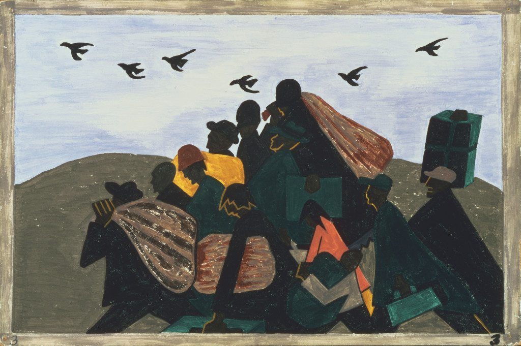 """Jacob Lawrence, The Migration Series Panel no. 3 """"From every southern town migrants left by the hundreds to travel north."""" 1940-41. Casein tempera on hardboard, 12 x 18 in. Acquired 1942. The Phillips Collection, Washington, DC"""