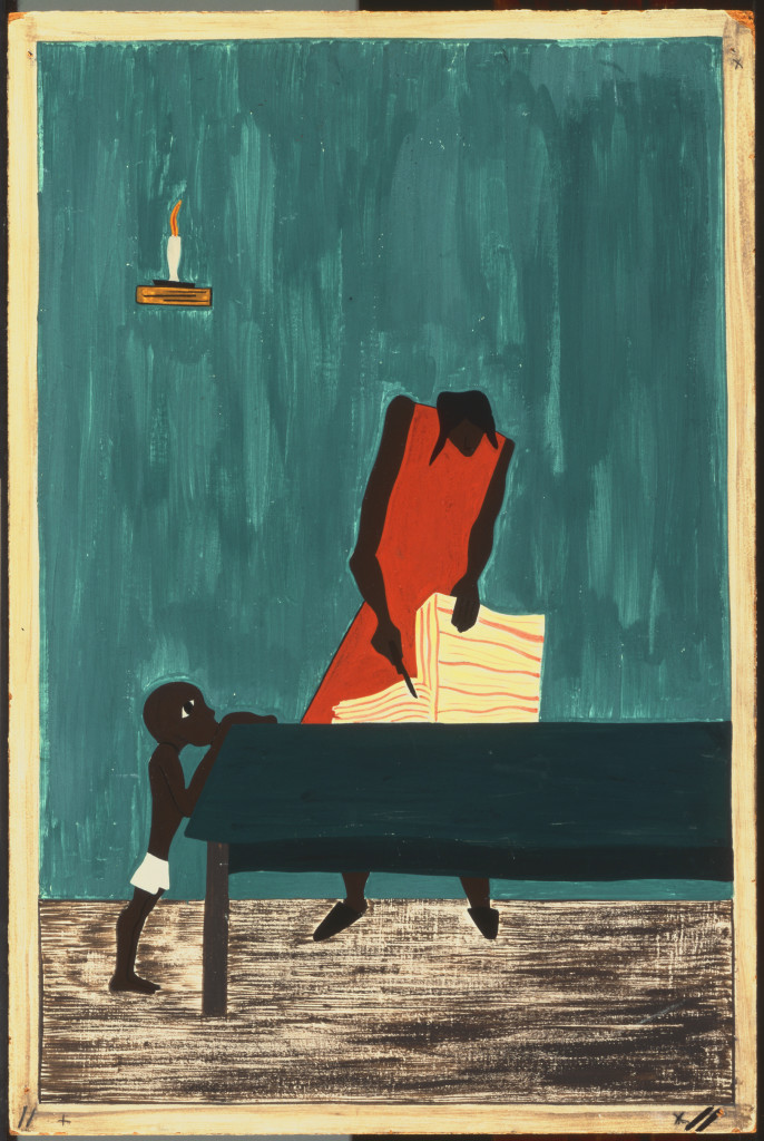"""Jacob Lawrence, The Migration Series Panel no. 11 """"Food had doubled in price because of the war,"""" 1940-41. Casein tempera on hardboard, 18 x 12 in. Acquired 1942. The Phillips Collection, Washington, DC"""