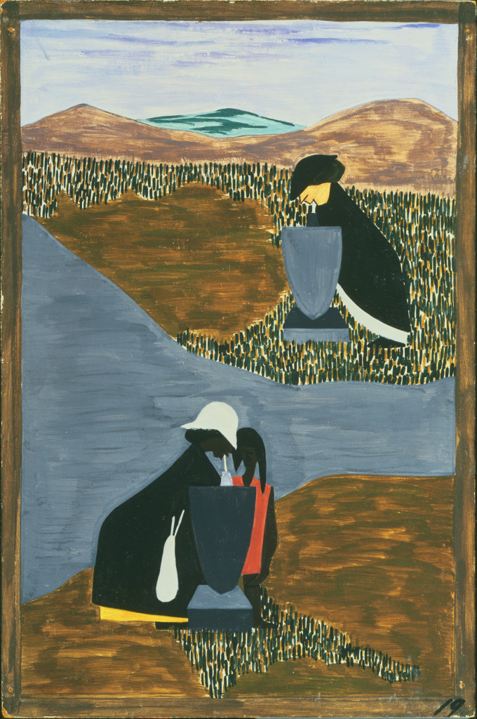 """Jacob Lawrence, The Migration Series Panel no. 19 """"There had always been discrimination,"""" 1940-41. Casein tempera on hardboard, 12 x 18 in. Acquired 1942. The Phillips Collection,Washington, DC"""